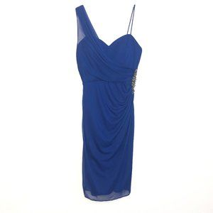 Cache One Shoulder Sweet Heart Beaded Dress DK